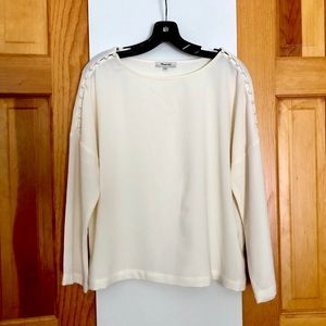 Madewell cream white blouse with button details